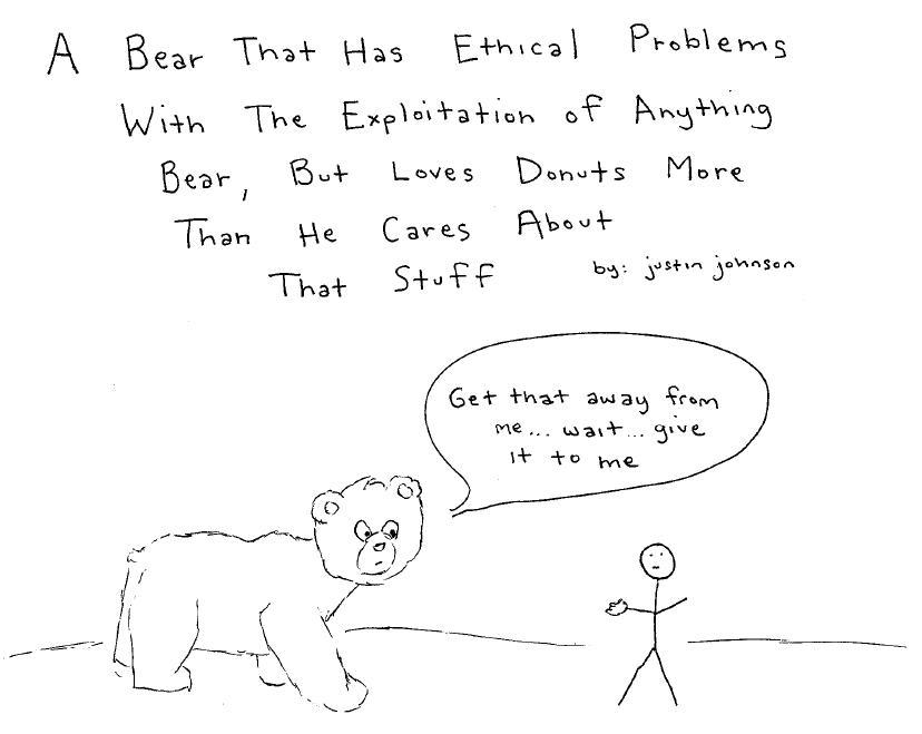 Bear That Hates Exploitation of Bears But Loves Bear Claws
