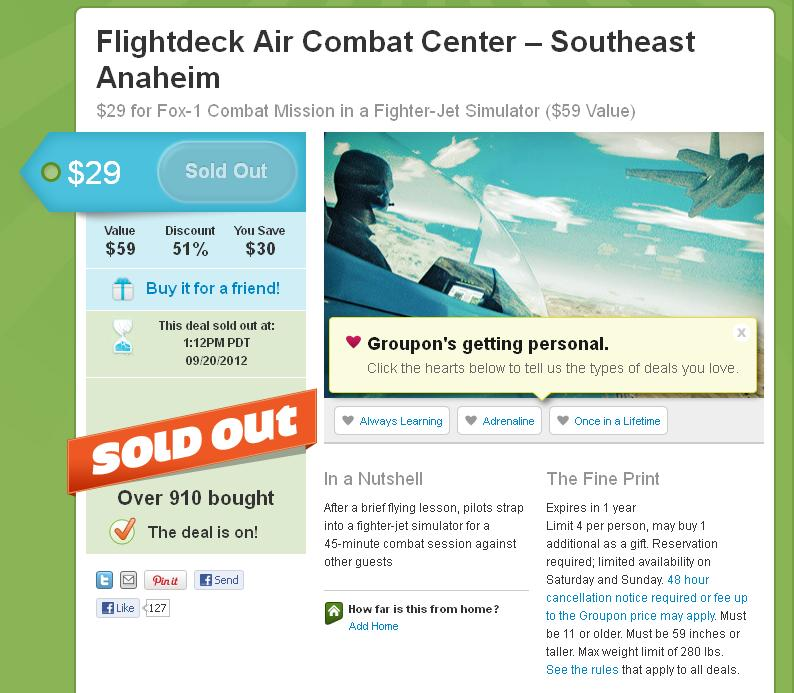 Justin J. Johnson's Imaginary Groupon Purchase – $29 for Fox-1 Combat Mission in a Fighter-Jet Simulator ($59 Value)