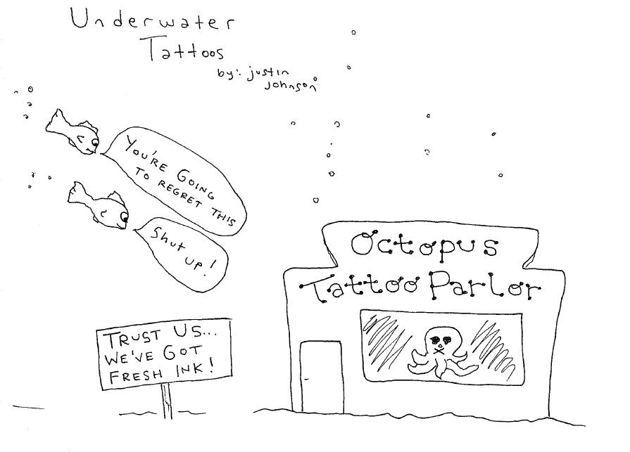 Octopus Tattoo Parlor Cartoon by Justin J. Johnson