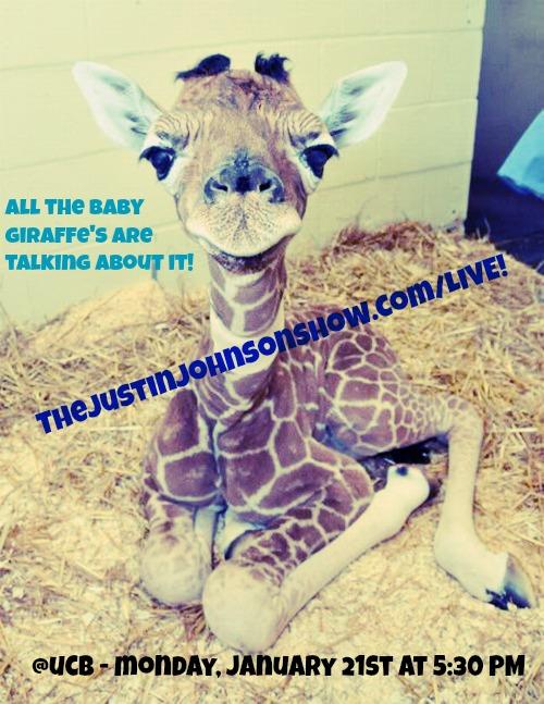 baby giraffe ucb mlk live show justin johnson