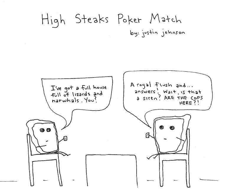 High Steaks Poker Match Cartoon