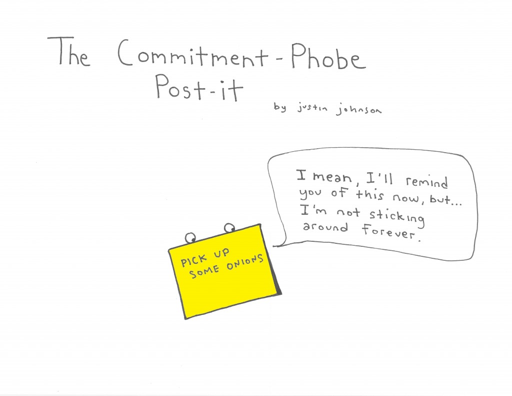 The Commitment-Phobe Post-it Cartoon