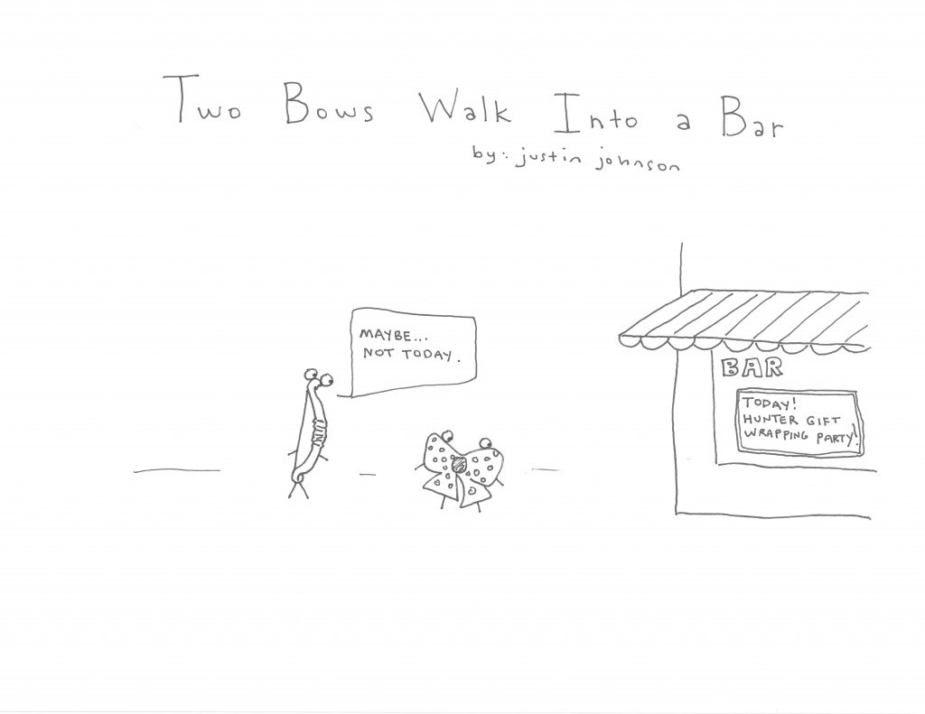 Two Bows Walk Into a Bar Cartoon