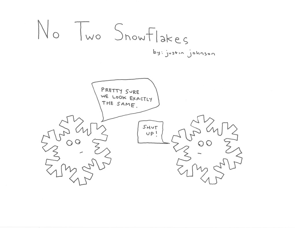 No Two Snowflakes Cartoon Justin J Johnson